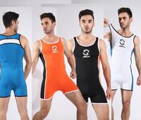 Wholesale White Mens Bodywear - JJSX Man Full Body Leotards Wrestling singlet Mens Body Building Swimsuit Gym Bodywear Man Tight Swimwear