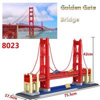 Wholesale Toys Gate - 8023 Golden Gate Bridge Model toy 1511Pcs World Great Architecture Large Wange Building Blocks Toy Bricks Compatible lepin