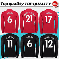 Wholesale Long Sleeve Browning Shirts - New #6 POGBA home red long sleeve Soccer Jersey 17 18 #19 RASHFORD away black Soccer Shirt Customized #11 MARTIAL football uniform Sales