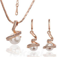 Wholesale bridal jewelry sets pearls silver resale online - 18K Gold Plated And Silver Plated Crystal Rhinestone Pearl Pendant Necklace And Earrings Women Bridal Jewelry Set Christmas Gift
