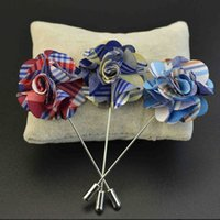 Wholesale Mens Flower Lapel Pins - Wholesale- Mdiger Brand Flower Suit Brooches Handmade Flower Boutonniere Stick Brooch Pin Mens Accessories Men Lapel Pin Brooches 3 PCS L