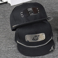 Wholesale Naruto Hats - Exclusive spring and summer men and women punk wind ring ring along the baseball hip hop write wheel hat Naruto animation hat