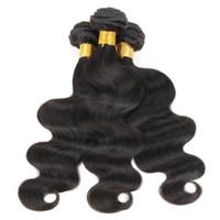 cheveux noirs vierges achat en gros de-3 Bundles Brésiliens Body Wave Weave Pas Cher Couleur 1B Noir Raw Virgin Indien Malaisien Péruvien Cambodgien Chinois Trame de Cheveux Humains