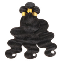 Wholesale 12 body wave weave online - 3 Bundles Brazilian Body Wave Hair Weave Cheap Color B Black Raw Virgin Indian Malaysian Peruvian Cambodian Chinese Human Hair Weft