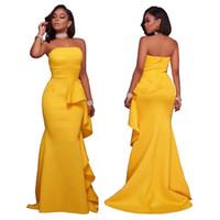 vestido de terno amarelo venda por atacado-2017 Major Europeia Terno Mulheres Sexy Vestidos de Festa Moda Terno-vestido Amarelo Fácil Auto-cultivo Top Tubo Saia