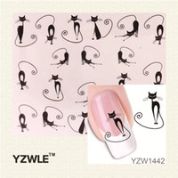 Wholesale Temptations Cat - Wholesale- YZWLE Loveliness Cat Water Transfer Nail Stickers Gel Beauty Decal Makeup temptation Cartoon Cat Sweetheart Animation