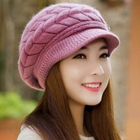 Wholesale Cheap Fashion Beret Hats - Fashion New 2017 Winter Elegent Women Hat Warm Knitted Crochet Slouch Baggy Beret Beanie Hat Cap for women bonnet femme Cheap