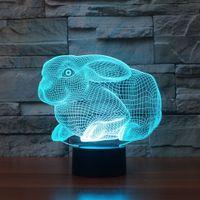 Wholesale Rabbit Table Lamp - 3D Rabbit Night Light 7 Colors Changing Table Desk Deco Lamp Bedroom Children Room Decorative Night Light