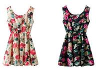 Wholesale Women Fashionable Mini Dresses - Fashionable dresses Chiffon Women High quality Summer big code Print dress Sleeveless women Chiffon Dress girl