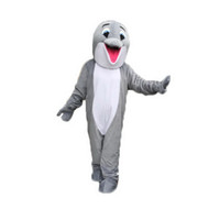 Wholesale Pictures Dolphins - Gray dolphin Mascot Costumes Cartoon Character Adult Sz 100% Real Picture