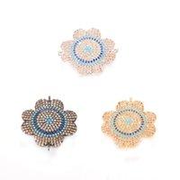Wholesale silver leaf connector - 3 Color Paved Micro Flower Pendants Four Leaf Flower Bracelet Accessories for DIY, ICSP030, Size 26.6*22.9 mm
