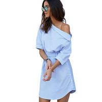 mujeres azul lado Puff playa manga 2016 pretina elegante Sexy rayas Moda a camisa vestido dividir un hombro vestidos casual tpwAYRq