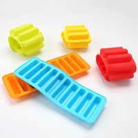 Wholesale Finger Hole - Food Grade Silicone Jelly Ice Cream Molds 10 Holes Long Finger Bar Biscuit Chocolate Moulds Ice Tray