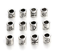 60pcs / lot Large trou perles de collier d'argent antique Spacer Bracelets Zodiac signes Star Barrel Charm Beads fournitures pour la fabrication de bijoux diy