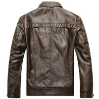 Wholesale Wholesale Leather Jackets Pu - 2017 years men's leather jacket collar retro wash PU leather color style as the picture shows free shipping