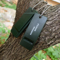 Wholesale Emergency Rescue Whistle - Emergency Sound Whistle Dark Green 3 Frequency Whistle Outdoor Essential Survival Rescue Tool Equipment For Camping Hiking Bushcraft Useful