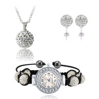 Wholesale Shamballa Necklace Watch - Hot Sale AB Clay Disco Ball Crystal Shamballa Watch Set Crystal Bracelet Earring Necklace Pendant Jewelry Sets SHLSTAmix1