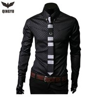 Wholesale Formal Dresses Large Sizes - Wholesale- Camisas Social Masculinas 2016 New Obscure Grid Shirt Plaid Shirts For Men Long Sleeve Business Formal Shirt Large Size M- 5XL