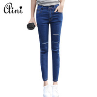 Wholesale Korean Casual Stripe Pants Women - Wholesale- 2017 Korean Style Woman Stretch Skinny Jeans Casual Pants Ripped Denim Jeans for women Pencil Pants Female Girls Jeans Feminino