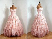 Compra Vestiti Rosa Ragazze Prendono-Bella 2018 Sweetheart Ruffled Abito da sera Custom Made Pink Sweet 16 Dress Long Girls Abiti da festa abiti da ballo