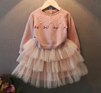 Wholesale Cute Tutu Dresses Long - 2016 Autumn Children Girls Sweet Bow Pearl Knitted Sweater Tops+ Tutu Tank Dresses 2 pcs Sets Princess Pink Dress Set B4352