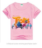 Wholesale Tees Kid Cartoon Clothes - Style Summer Kids Cartoon Trolls Print Short Sleeve T-Shirts Cotto Boy Girls Tee Tops Elves Girls Clothing Kids 2-10Years