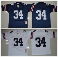 Wholesale Auburn Tigers Football Jersey - Cheap Auburn Tigers Men Jerseys #34 Bo Jackson White Navy Blue Mens College Football Throwback Jerseys Size:S-XXL Free shipping