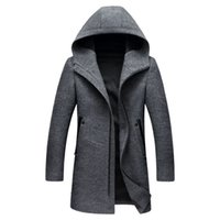 Herren Wollmäntel Jacken Winter Kaschmir Kapuzenjacke Man Fashion Oberbekleidung Zipper Overcoat Wollmantel 3XL