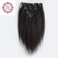 Wholesale natural human hair extensions best online - Best Unprocessed A Grade Virgin Peruvian Clip In Human Hair Extensions Kinky Straight Clip On Hair Extensions FEDEX