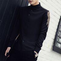 Wholesale Korean Men Spring Fashion - Wholesale- Chemise Homme 2016 New Spring Solid Long Sleeve Embroidered Shirt Men Korean Fashion Slim Fit Casual Men Shirt Black White 3XL-M