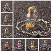 Wholesale glass easter ornament - High quality Mini 17 bottles of cork drift bottles small pearl ornaments sweater chain N521 (with chain) mix order 20 pieces a lot