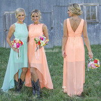 Wholesale Chiffon High Low Dress Peach - Romance High Low Peach Mint Chiffon Bridesmaid Dresses 2016 Jewel Neck Lace Applique Cheap Western Wedding Guest Maid of Honor Party Gowns