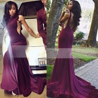 Discount navy blue jersey prom dresses - New Arrival Burgundy Prom Dresses 2017 Mermaid Jewel Neck with Open Back Long Stretch Satin Party Gowns Evening Dresses High Quality