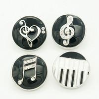 boutons musicaux achat en gros de-Vente en gros-18 MM ronde noire goutte à goutte note musicale charme métallique boutons pression KZ1035 pour breloque breloque breloque breloque bijoux en gros