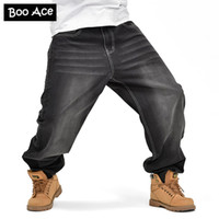Wholesale Mens Bootcut - Wholesale- Mens Hip Hop Baggy Loose Black Jeans Denim Printed Jeans Skateboard Pants for Men Street Dance Trousers 30-46 FS4967