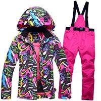 Wholesale Cheap Ladies Winter Clothes - Wholesale- New Cheap Snow suit sets Women Snowboard Clothes Waterproof Windproof -30 Warm Winter Coat Ski Jackets + Bib pants Ladies