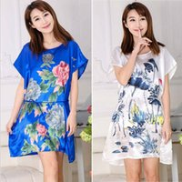 Wholesale Traditional Chinese Silk Clothes - 40 Colors Woman sleepwear Round Neck Flora Printed Women Nightgowns Clothes Summer Sleep Dresses Women Nightdress Chinese Style Sleepshirts