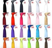 tamanhos de meia de seda venda por atacado-5 cm 24 cores em estoque mens tamanho regular gravatas imitar seda cor sólida planície casamento gravata lenth Frete Grátis