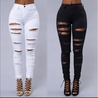 siyah üst beyaz pantolon toptan satış-Toptan ücretsiz kargo Skinny Jeans Kadınlar Denim Pantolon Delik Tahrip Diz Kalem Pantolon Rahat Pantolon Siyah Beyaz Streç Yırtık Kot