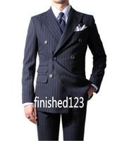 en iyi takım elbise modelleri mavi toptan satış-Klasik Tasarım Damat Smokin Groomsmen Kruvaze Lacivert Tepe yaka Best Man Suit Düğün erkek Blazer Suits (Ceket + Pantolon + Kravat) K397
