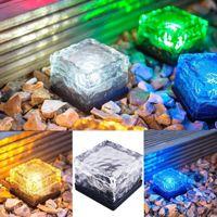 Wholesale Solar Ice Brick - Hot Solar Power LED Ground Crystal Glass Ice Brick Shape Outdoor Yard Garden Deck Road Lamp Light LEG_21Y