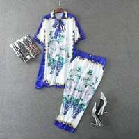 Wholesale Blouse Porcelain - European and American women's wear 2017 Autumn new Blue and white porcelain printed lapel bow blouse 7 minutes of pants suit