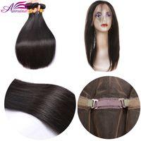 Wholesale Cheapest Wholesale Virgin Brazilian Hair - Cheapest Brazilian Virgin Human Hair 3Bundles With 360 Lace Frontal closure 3Pcs Brazilian Virgin Hair Bundles with 360Lace Frontal