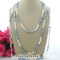 "Wholesale Necklace Aquamarine - FC121001 93"" White Baroque Pearl Aquamarine Necklace KE031210 19"" Stunning! Pearl Amethyst Necklace"