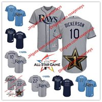 Baseball blue dickerson - Tampa Bay Rays All Star Game Worn Jersey Corey Dickerson Chris Archer Gray White blue navy Stitched baseball Jerseys S XL
