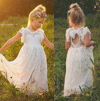 Wholesale Keyhole Tea Length Wedding Dress - 2017 Boho Lace Flower Girl Dresses Crew Neck Keyhole Backless Tea Length Kids Formal Wears For Weddings Party Girls Birthday Gowns with Bow