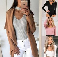 Wholesale Wholesale Womens Cardigans - Hot Womens Casual Long Sleeve Knitted Sweater Jumper Cardigan Tops Knitwear Jumpsuit Sweaters Basic Item Slim Tight Primer Base shirt Top