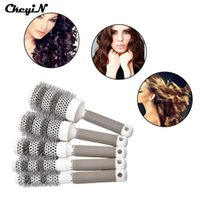 Wholesale Ceramic Slip - Wholesale- 5 Pcs 5 Size 19,25,32,45,53mm Round Hair Brush Ceramic Hairbrush Hair Comb for Hair Styling Drying With Non-Slip Handle -S4444