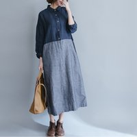 Wholesale Long Linen Dresses - Summer Casual Linen Dresses Womens Slim Fit Dress Long Sleeve Plus Maix Size Thin Loose striped Beach Party Fashion Dress Women