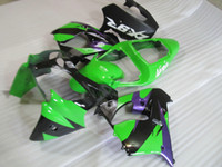 Wholesale high quality fairings resale online - High quality plastic fairing kit for Kawasaki Ninja ZX9R green purple fairings set ZX9R OT19